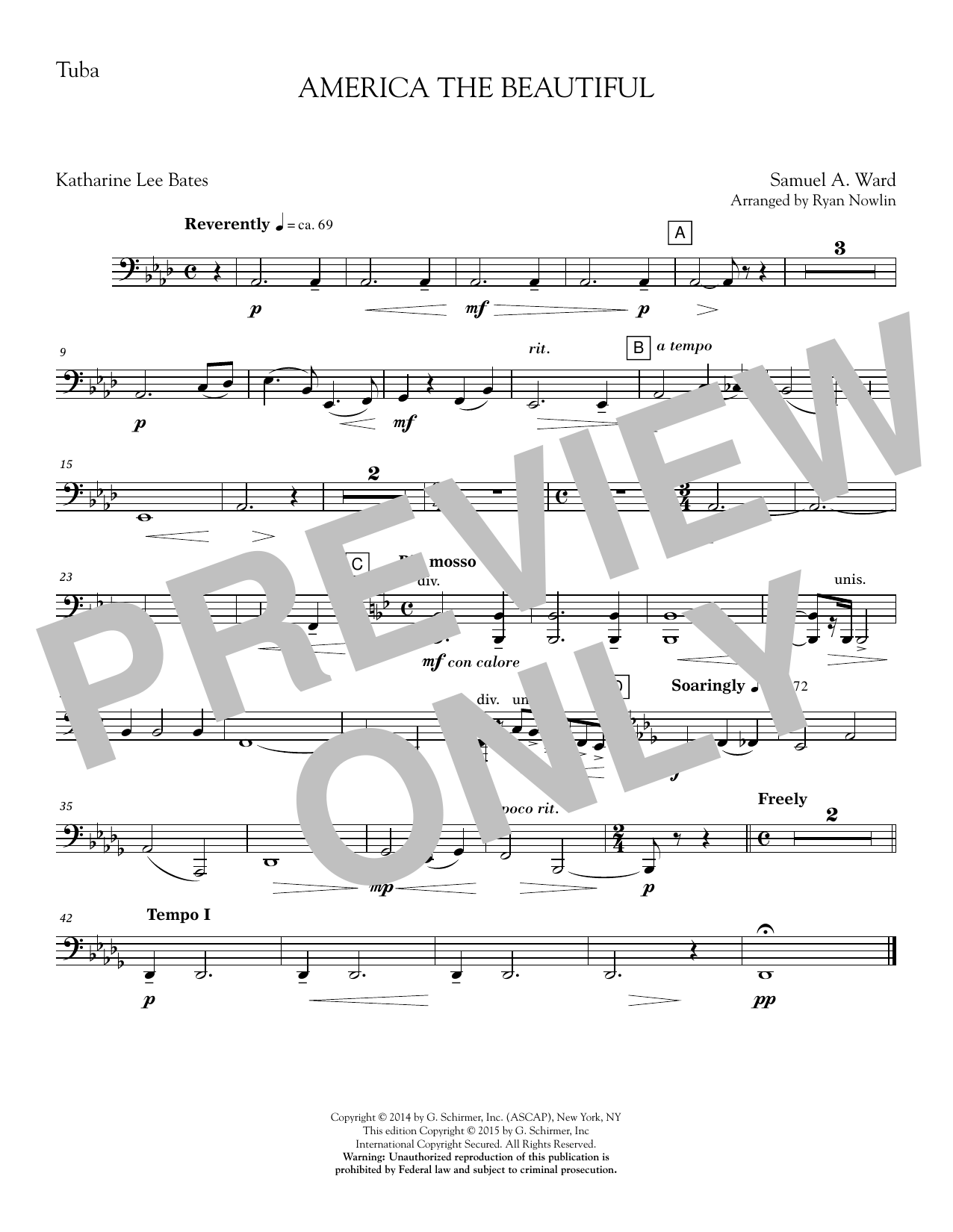 Ryan Nowlin America, the Beautiful - Tuba sheet music notes and chords. Download Printable PDF.