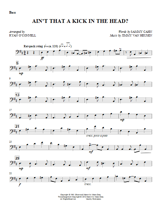 Ryan O'Connell Ain't That A Kick In The Head? - Bass sheet music notes and chords. Download Printable PDF.