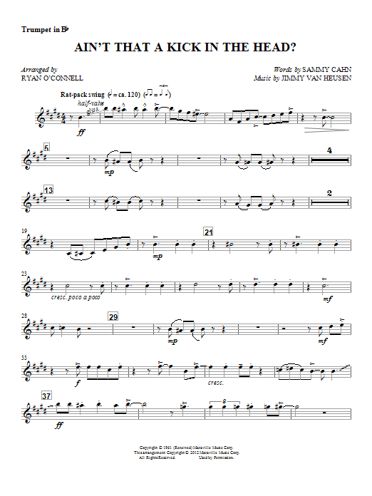 Ryan O'Connell Ain't That A Kick In The Head? - Trumpet 1 sheet music notes and chords. Download Printable PDF.