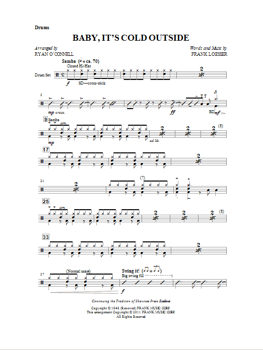 Ryan O'Connell Baby, It's Cold Outside - Drum (Opt. Set) sheet music notes and chords