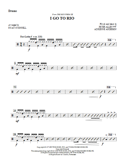 Ryan O'Connell I Go to Rio - Drums sheet music notes and chords. Download Printable PDF.