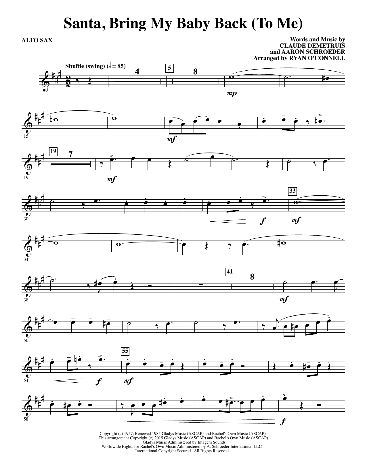 Ryan O'Connell Santa, Bring My Baby Back (To Me) - Alto Sax sheet music notes and chords. Download Printable PDF.