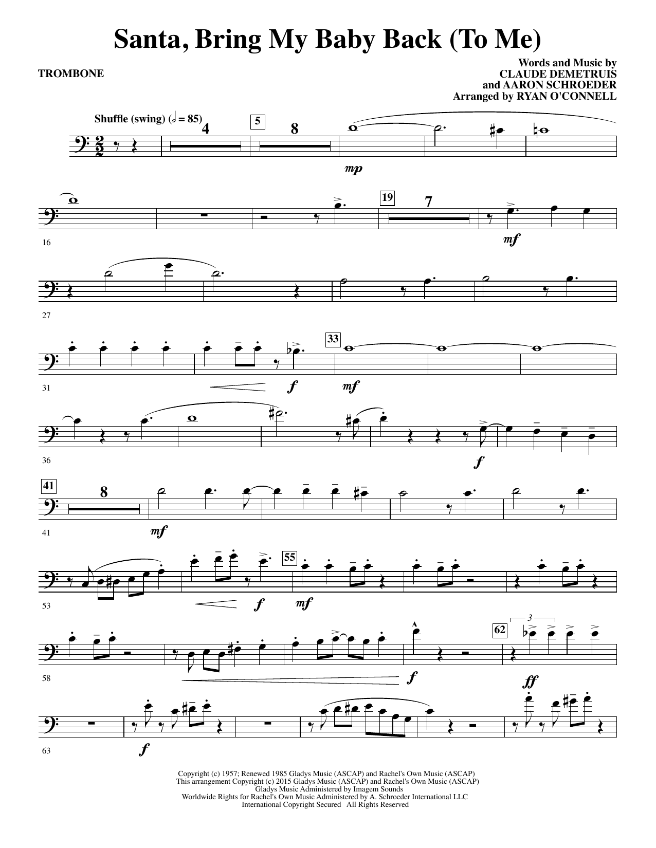 Ryan O'Connell Santa, Bring My Baby Back (To Me) - Trombone sheet music notes and chords. Download Printable PDF.