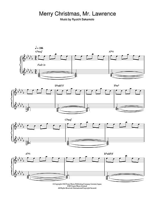 Ryuichi Sakamoto Merry Christmas, Mr. Lawrence sheet music notes and chords. Download Printable PDF.
