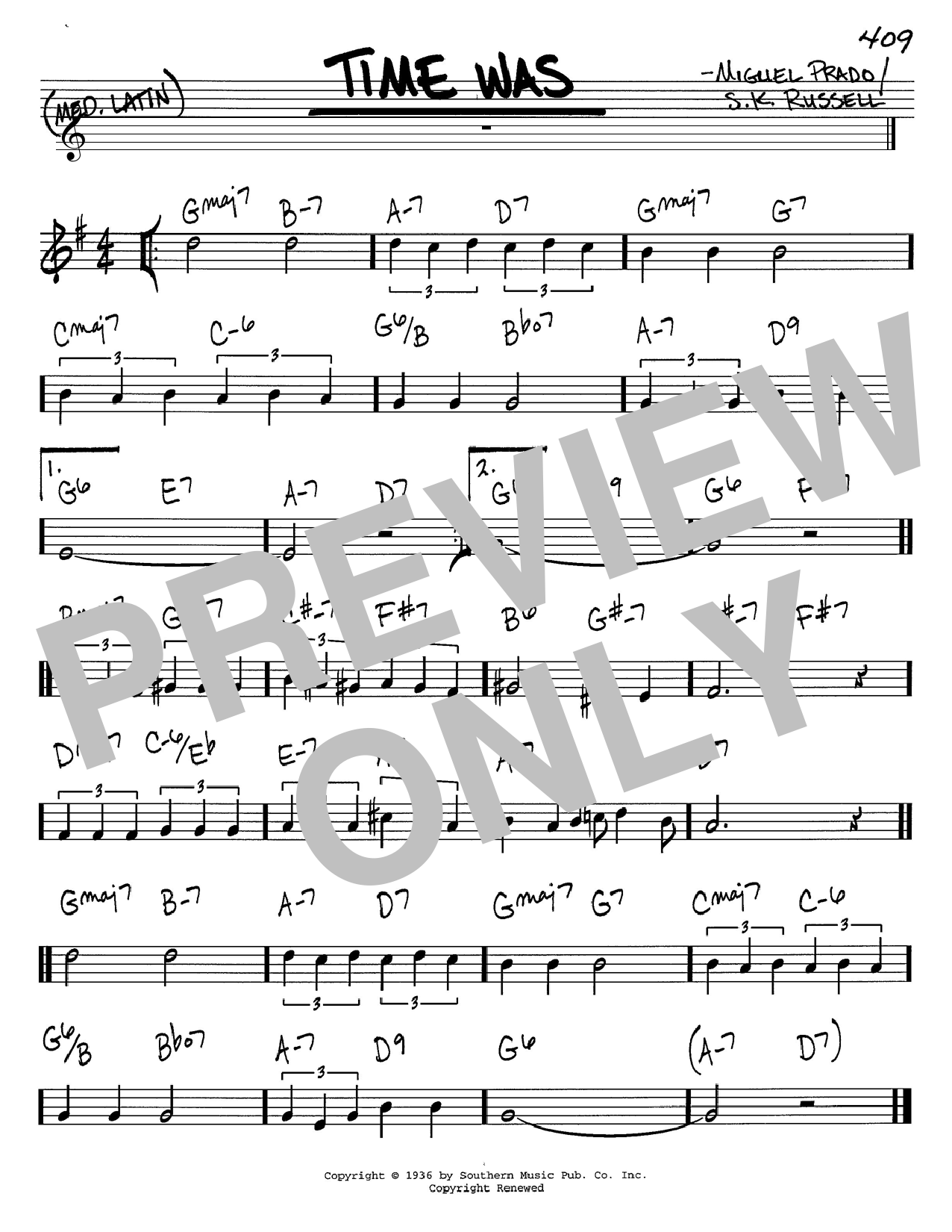 S. K. Russell Time Was sheet music notes and chords. Download Printable PDF.