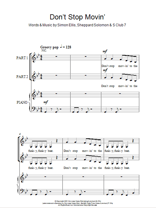 S Club 7 Don't Stop Movin' sheet music notes and chords. Download Printable PDF.