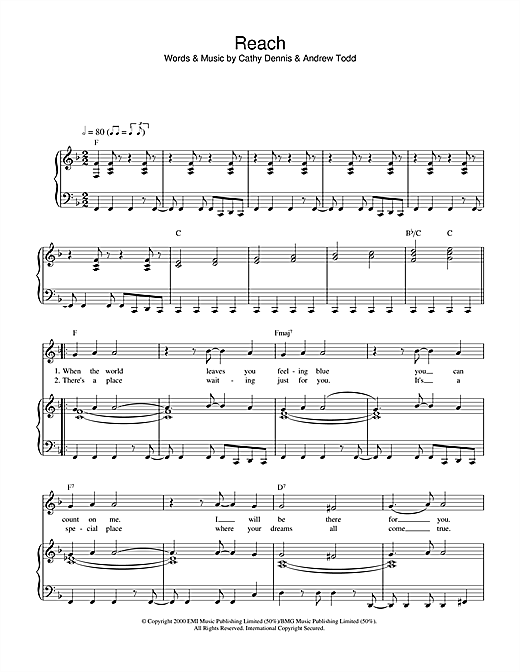 S Club 7 Reach sheet music notes and chords. Download Printable PDF.