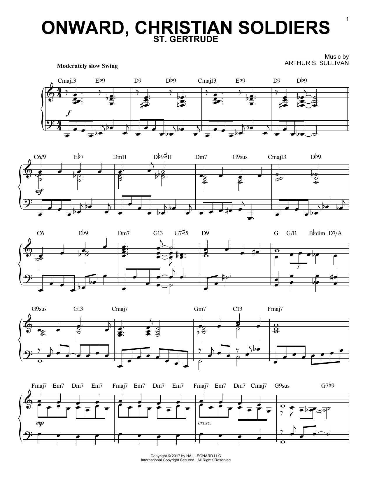 Sabine Baring-Gould Onward, Christian Soldiers [Jazz version] sheet music notes and chords. Download Printable PDF.