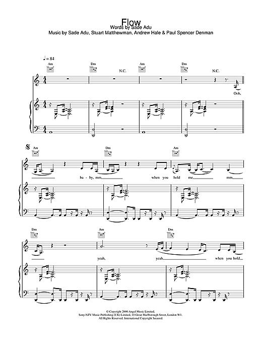 Sade Flow sheet music notes and chords