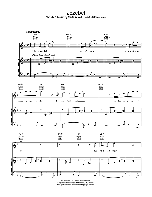 Sade Jezebel sheet music notes and chords. Download Printable PDF.