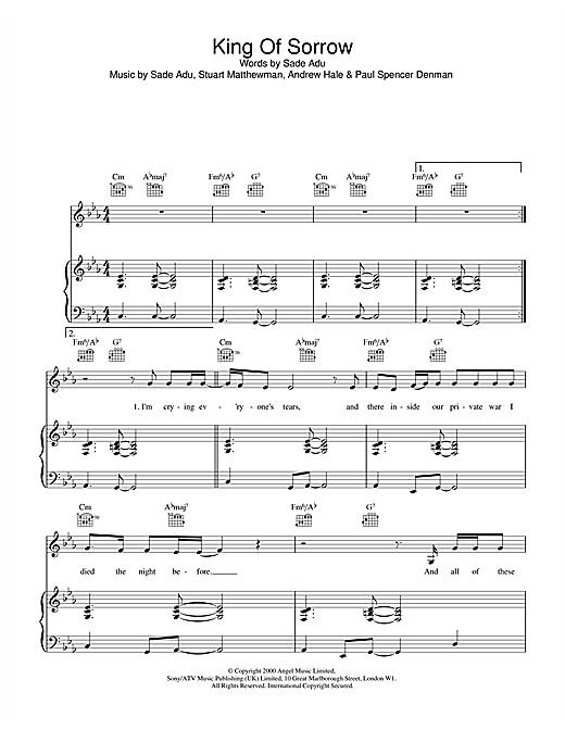 Sade King Of Sorrow sheet music notes and chords