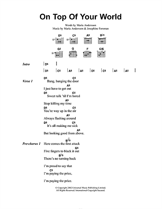 Sahara Hotnights On Top Of Your World sheet music notes and chords. Download Printable PDF.