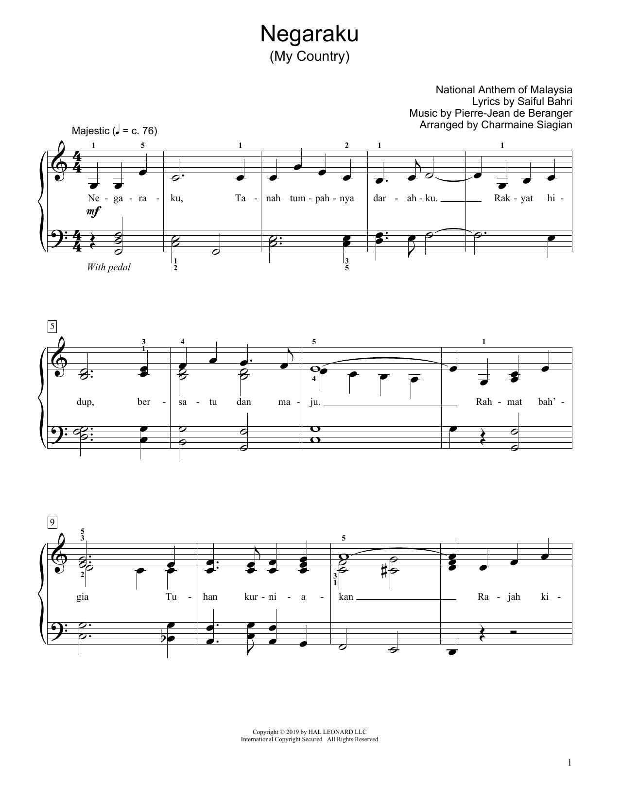 Saiful Bahri My Country (Negaraku) (arr. Charmaine Siagian) sheet music notes and chords. Download Printable PDF.
