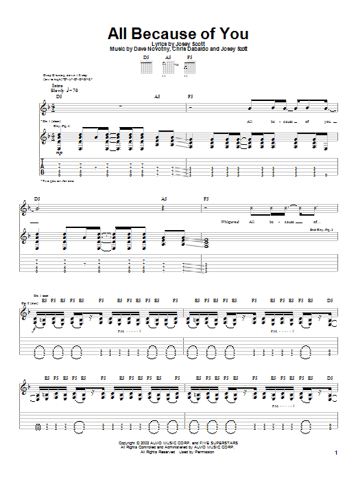 Saliva All Because Of You sheet music notes and chords. Download Printable PDF.