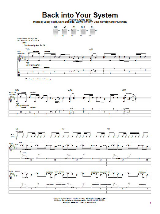 Saliva Back Into Your System sheet music notes and chords. Download Printable PDF.
