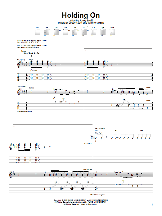 Saliva Holding On sheet music notes and chords. Download Printable PDF.