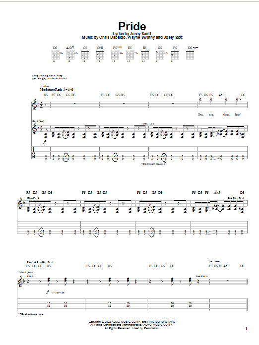 Saliva Pride sheet music notes and chords. Download Printable PDF.