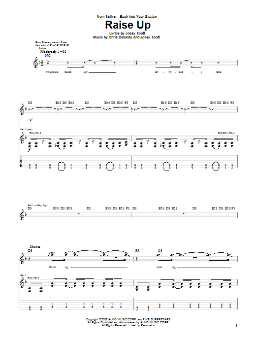 Saliva Raise Up sheet music notes and chords. Download Printable PDF.