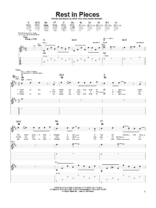 Saliva Rest In Pieces sheet music notes and chords. Download Printable PDF.