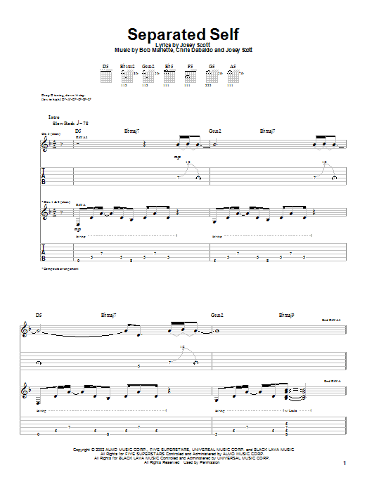 Saliva Separated Self sheet music notes and chords. Download Printable PDF.