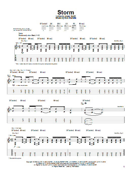 Saliva Storm sheet music notes and chords. Download Printable PDF.