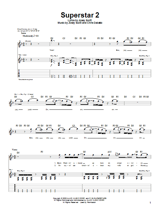 Saliva Superstar 2 sheet music notes and chords. Download Printable PDF.