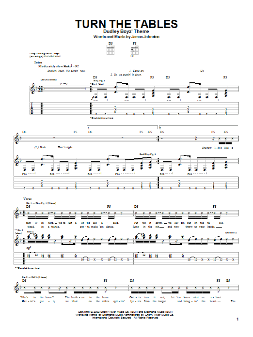 Saliva Turn The Tables sheet music notes and chords