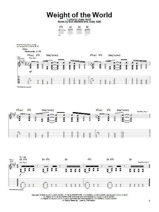 Saliva Weight Of The World sheet music notes and chords. Download Printable PDF.
