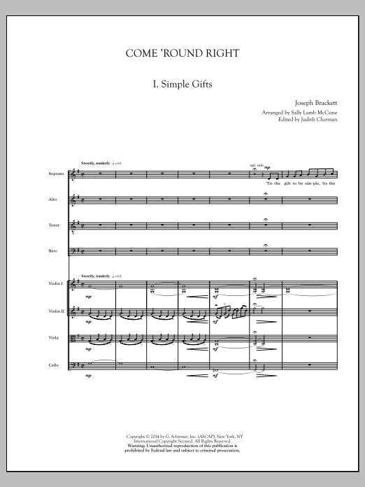 Sally Lamb McCune Come 'Round Right; A Folk Song Suite - Score sheet music notes and chords. Download Printable PDF.