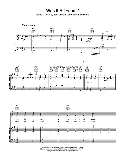 Sam Coslow Was It A Dream sheet music notes and chords. Download Printable PDF.