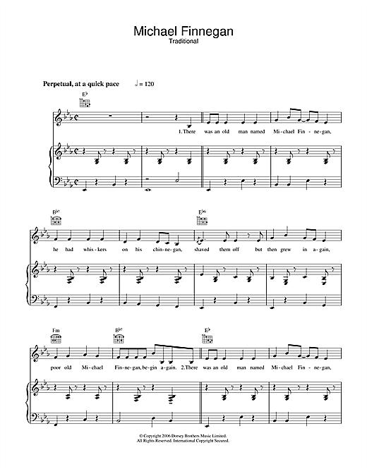 Sam Hinton Michael Finnegan sheet music notes and chords. Download Printable PDF.