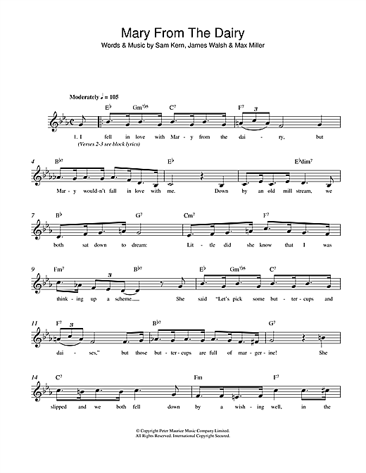 Sam Kern Mary From The Dairy sheet music notes and chords. Download Printable PDF.