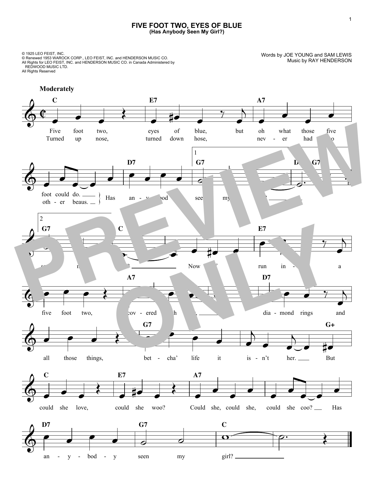 Sam Lewis Five Foot Two, Eyes Of Blue (Has Anybody Seen My Girl?) sheet music notes and chords. Download Printable PDF.