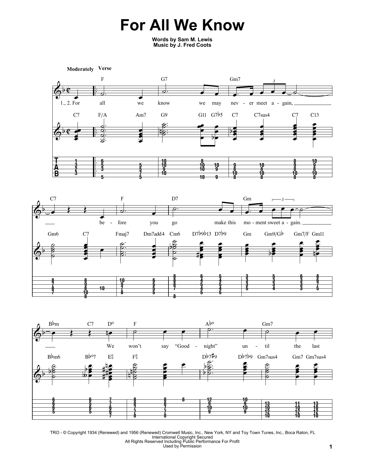 Sam M. Lewis For All We Know sheet music notes and chords. Download Printable PDF.