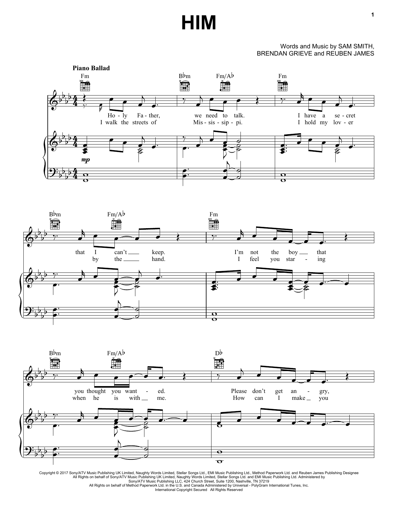 Sam Smith Him sheet music notes and chords. Download Printable PDF.