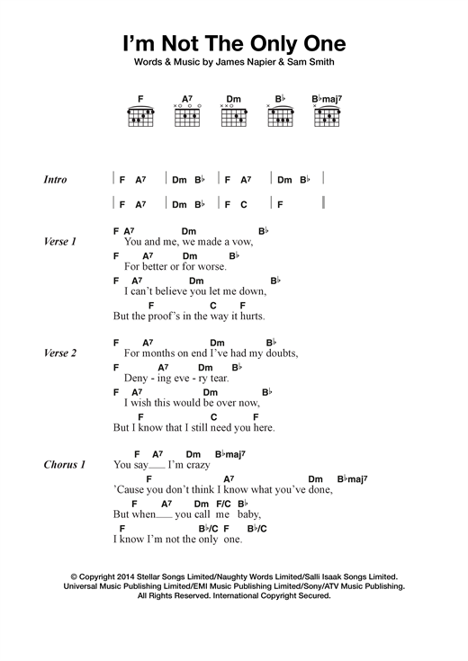 Sam Smith I'm Not The Only One sheet music notes and chords. Download Printable PDF.