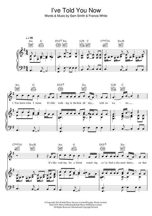Sam Smith I've Told You Now sheet music notes and chords