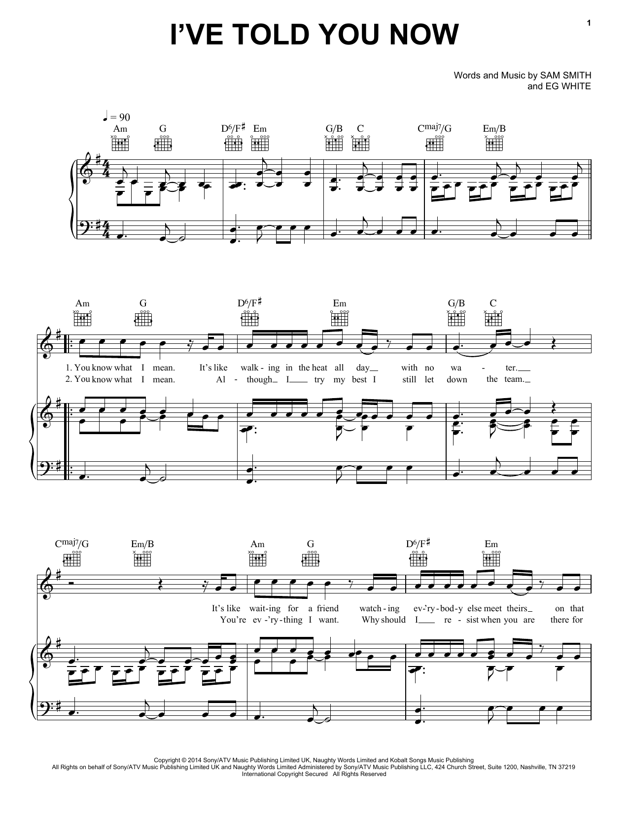 Sam Smith I've Told You Now sheet music notes and chords. Download Printable PDF.