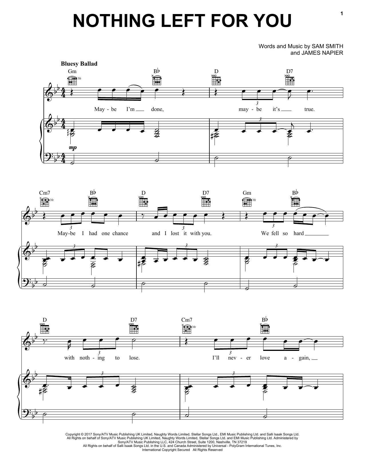 Sam Smith Nothing Left For You sheet music notes and chords
