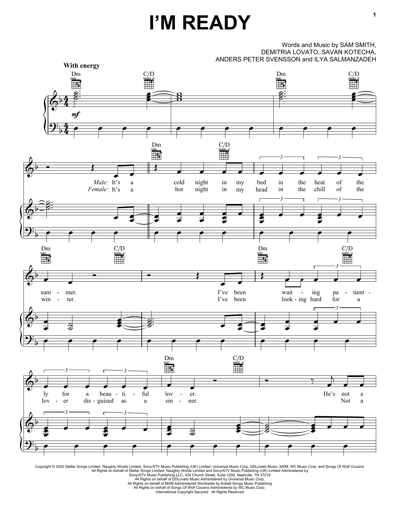 Sam Smith & Demi Lovato I'm Ready sheet music notes and chords. Download Printable PDF.