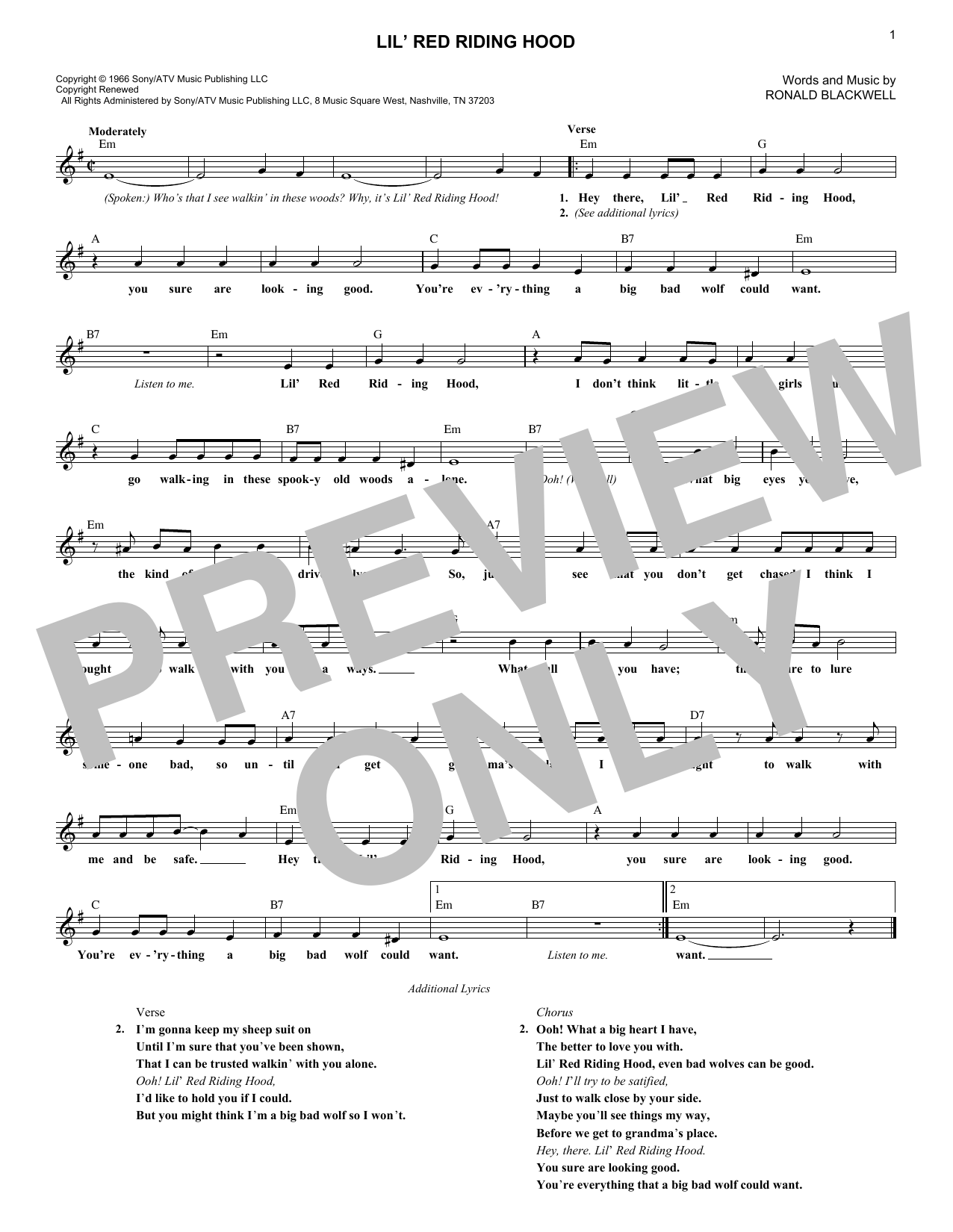 Sam The Sham & The Pharoahs Lil' Red Riding Hood sheet music notes and chords. Download Printable PDF.