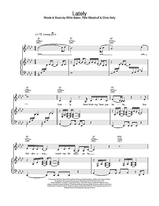 Samantha Mumba Lately sheet music notes and chords