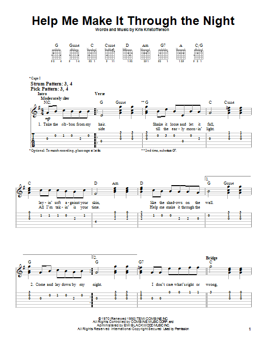 Sammi Smith Help Me Make It Through The Night sheet music notes and chords. Download Printable PDF.