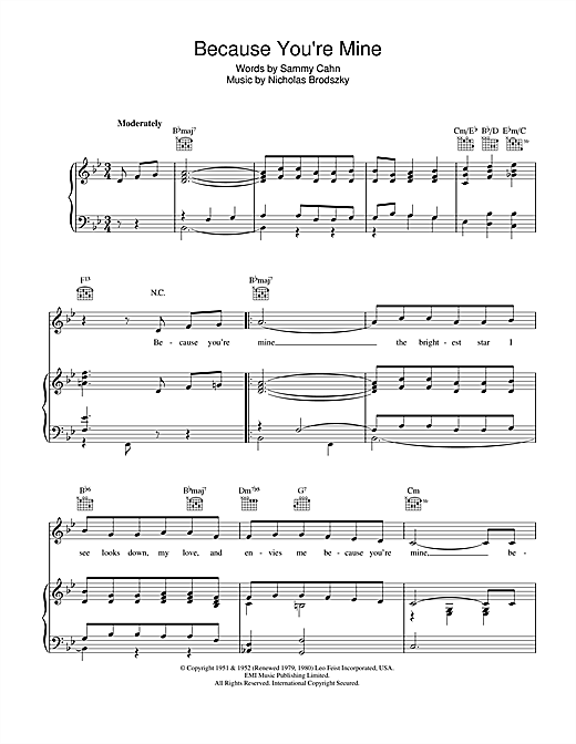 Sammy Cahn Because You're Mine sheet music notes and chords. Download Printable PDF.