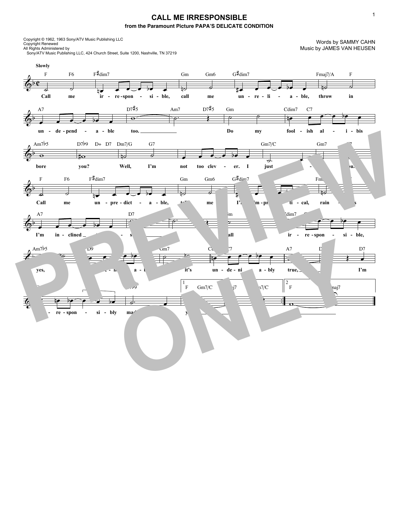 Sammy Cahn Call Me Irresponsible sheet music notes and chords. Download Printable PDF.