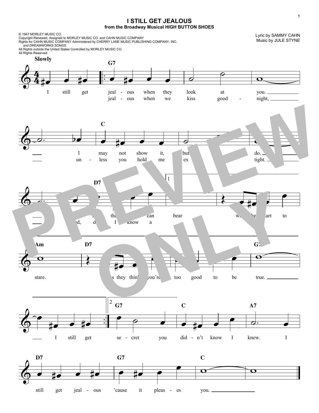 Sammy Cahn I Still Get Jealous sheet music notes and chords. Download Printable PDF.