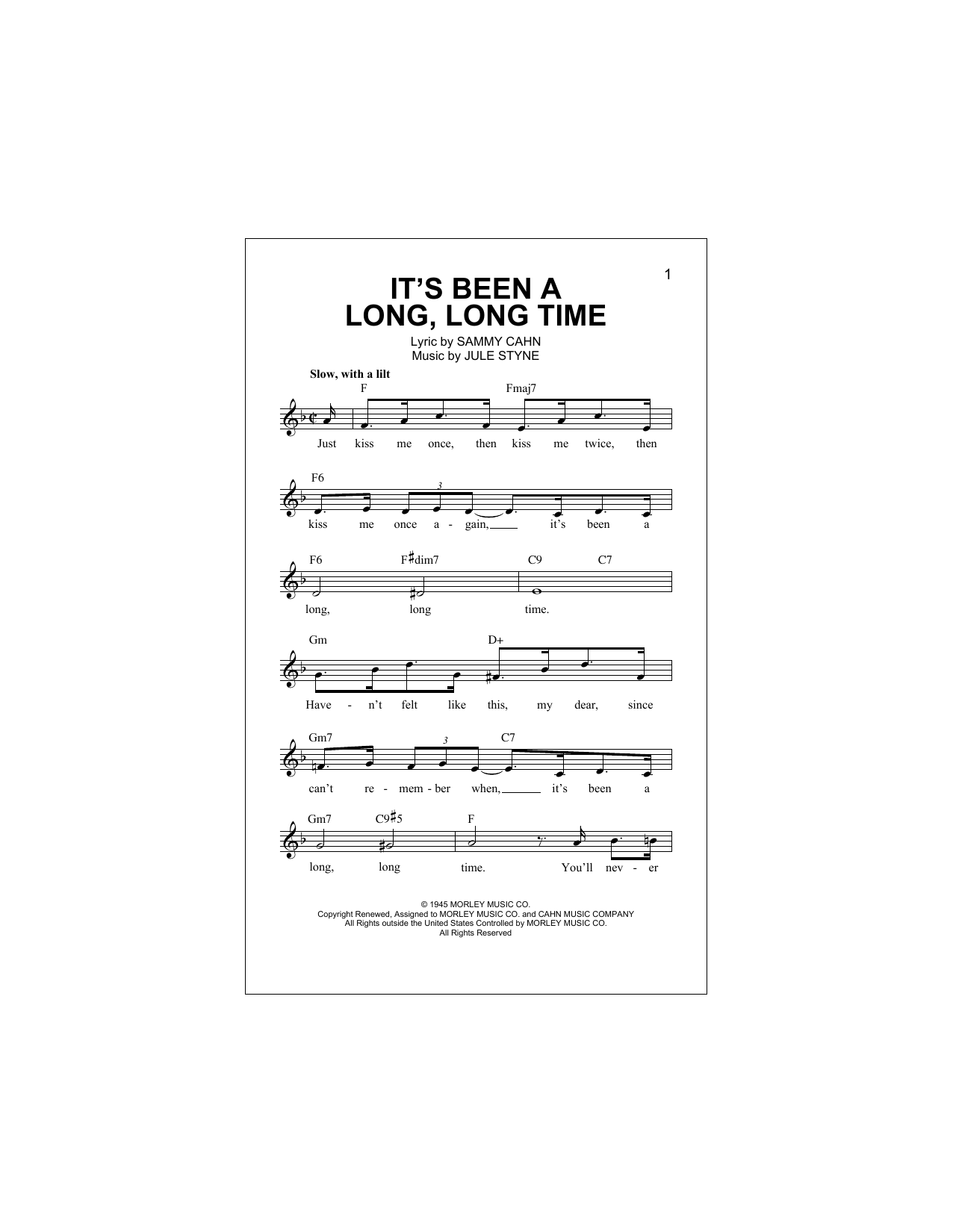 Sammy Cahn It's Been A Long, Long Time sheet music notes and chords. Download Printable PDF.