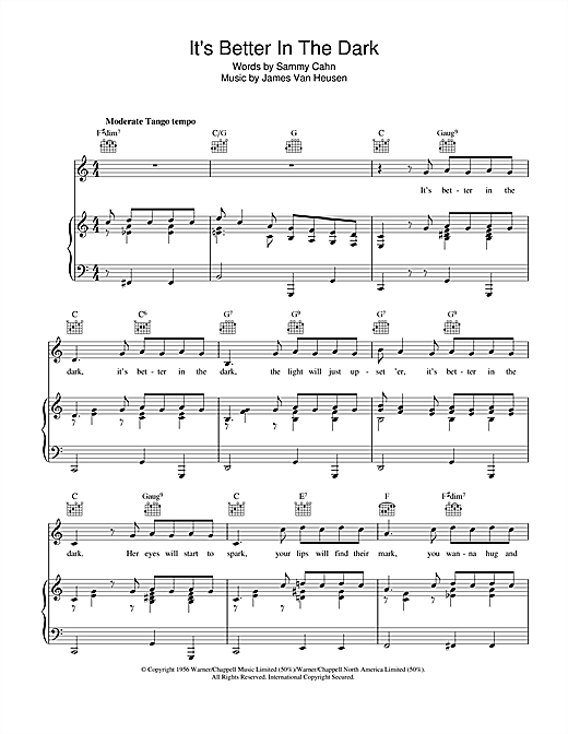 Sammy Cahn It's Better In The Dark sheet music notes and chords. Download Printable PDF.