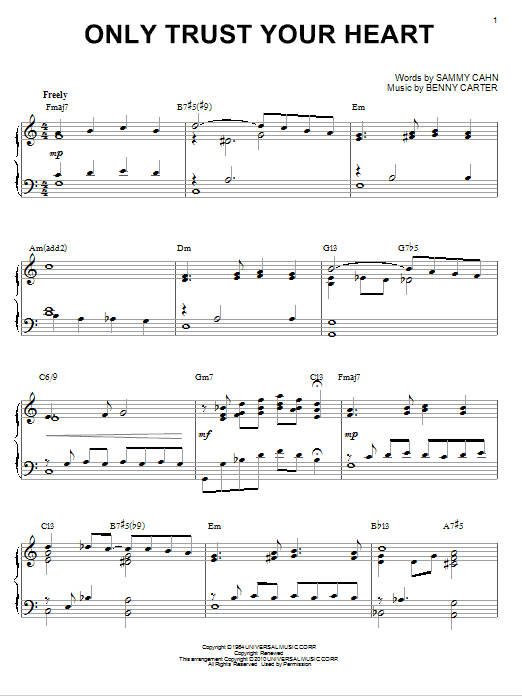 Sammy Cahn Only Trust Your Heart [Jazz version] (arr. Brent Edstrom) sheet music notes and chords. Download Printable PDF.