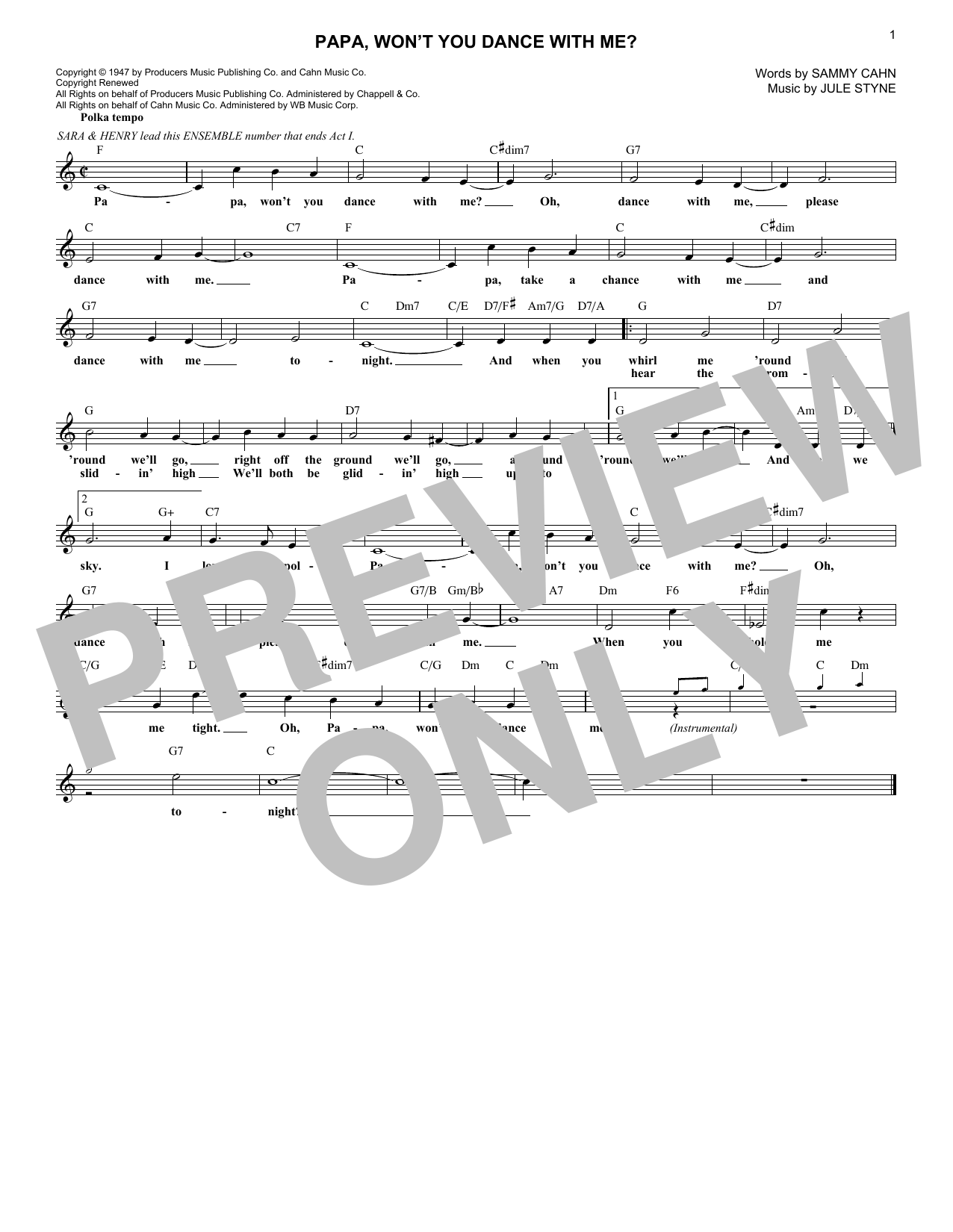 Sammy Cahn Papa, Won't You Dance With Me? sheet music notes and chords